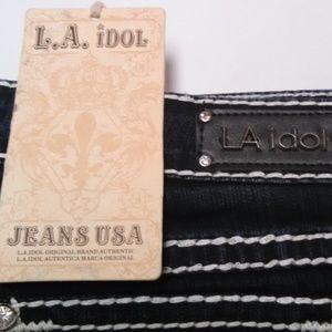L.A. idol Jeans - LA Idol Jeans Flap Pocket Bling Stitched Dark Blue